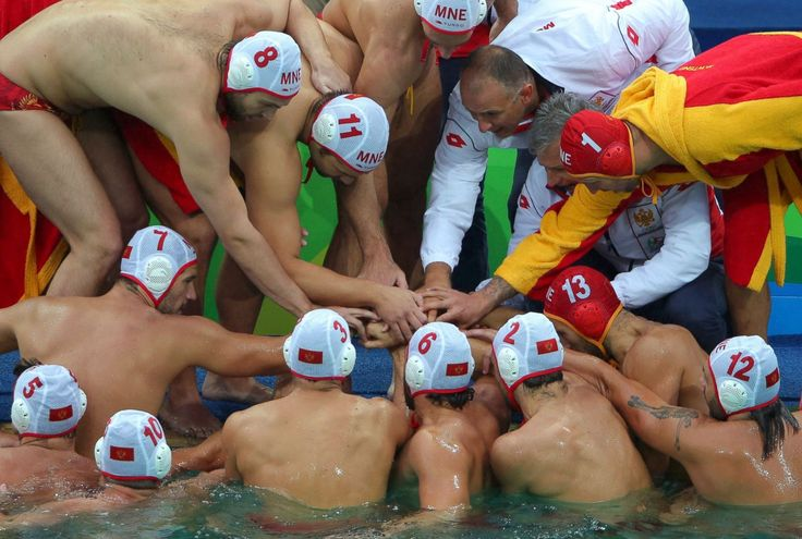 Montenegro's men's team gets ready for their water polo match against Italy…