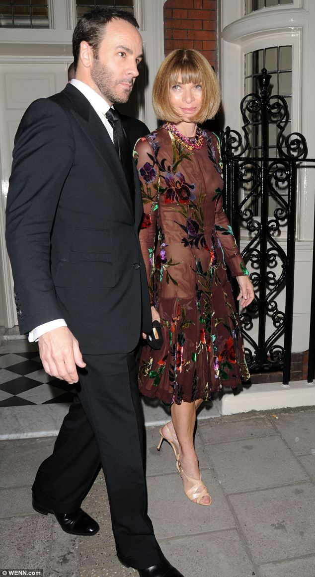 The designer and the editor: Tom Ford with Vogue's Anna Wintour leaving Mark's Club in London after his spring/summer 2013 presenation