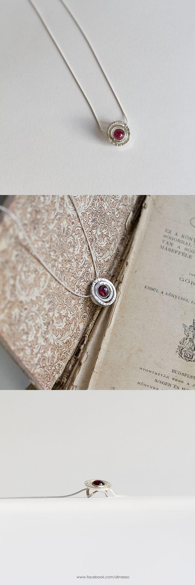 silver pendant with garnet www.facebook.com/dimesso