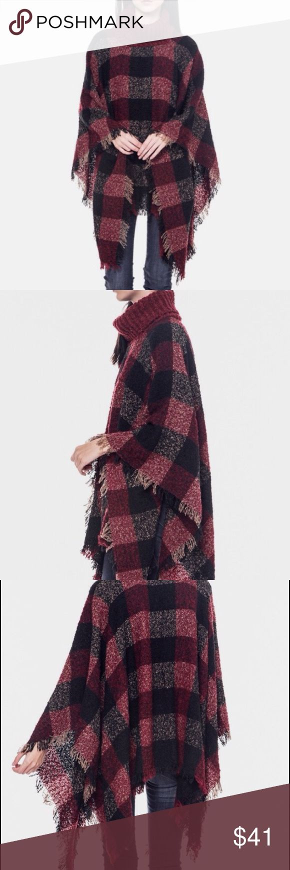 🆕 Rich Burgundy Plaid Poncho Perfect add to the Fall/Winter wardrobe. Rich colors with a deep rust-like burgundy dominating.  One size fits a range of sizes 2-10.  Material:  100% acrylic.  Price for a single purchase is firm.  Discount available for bundled purchases.  😊 Sweaters