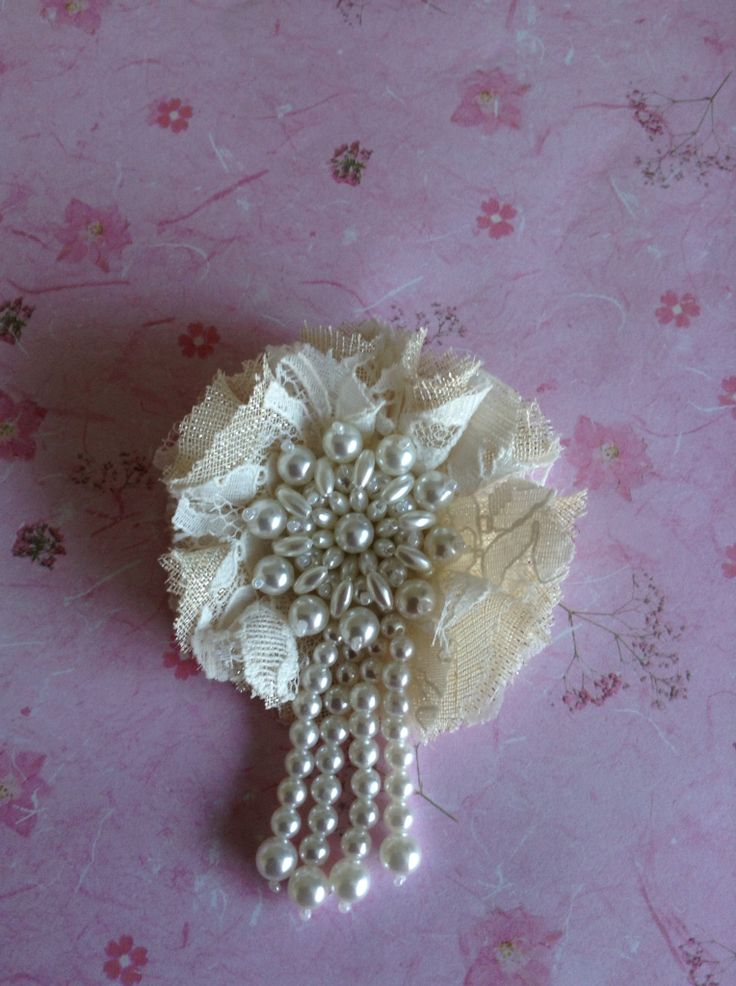 Lace & sparkle flower with Pearl dangle center handmade by Juana