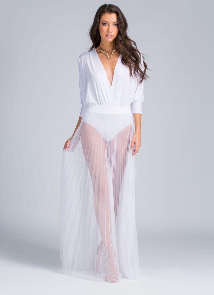Pleats To Meet U Sheer Maxi Skirt GoJane.com | All Withe ...