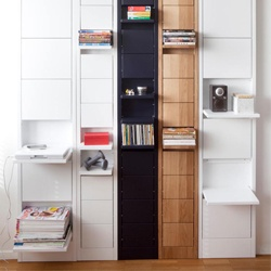 Klaffi Shelves is a space-saving shelving unit that has individual shelves which fold up when not in use. The shelf is perfect for any type of items, ranging from DVDs to magazines, and small accessories to cookware: Dreams Houses, Klaffi Shelves, Interiors Design, Folding Shelves, Wall Shelves, Spaces Save, Klaffi Shelf, Small Spaces, Eeva Lithovius