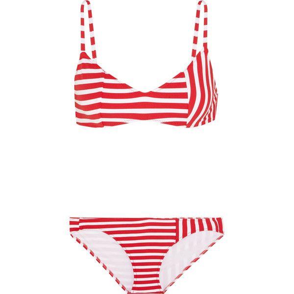AraksElsa Striped Triangle Bikini (£220) via Polyvore featuring swimwear, bikinis, red, red swimwear, nautical bikini swimwear, nautical bikini, red bikini and bikini two piece