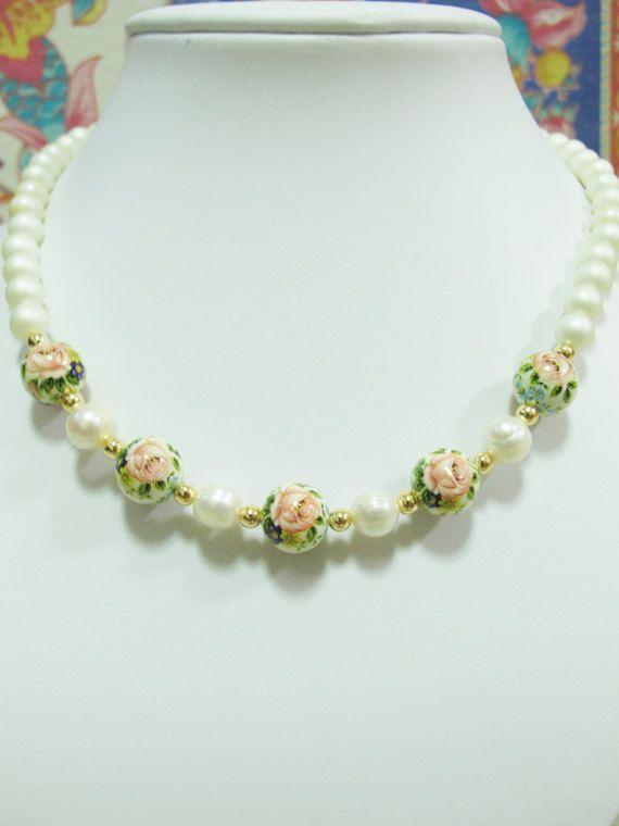 Japanese Tensha Pinky Rose Bead Matte white bead by littletuckshop, $60.00