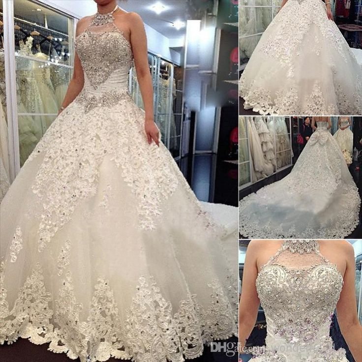 Wholesale Ball Gown Wedding Dresses - Buy 2014 Newest Luxury Wedding Dresses With Halter Swarovski Crystals Beads Backless A Line Chapel Train Lace Bling Customed Ivory Bridal Gowns, $141.37 | DHgate.com