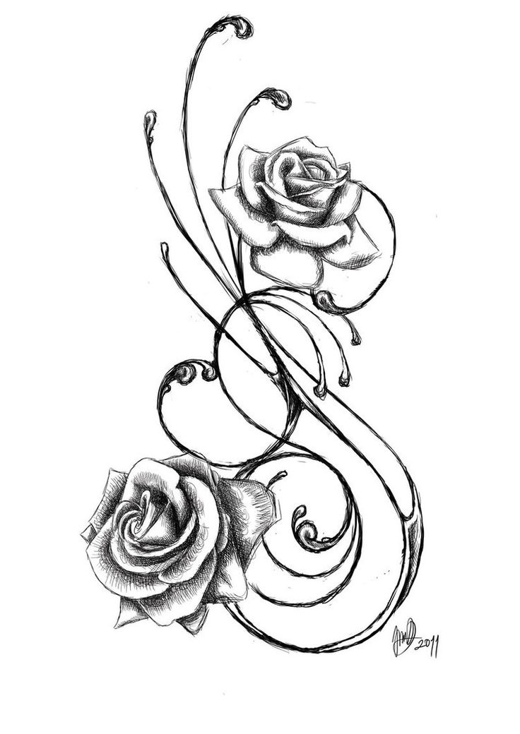 Rose Tattoo By JadroART On DeviantART. I think Id like it better with lilies in place of the roses.                                                                                                                                                                                 Más
