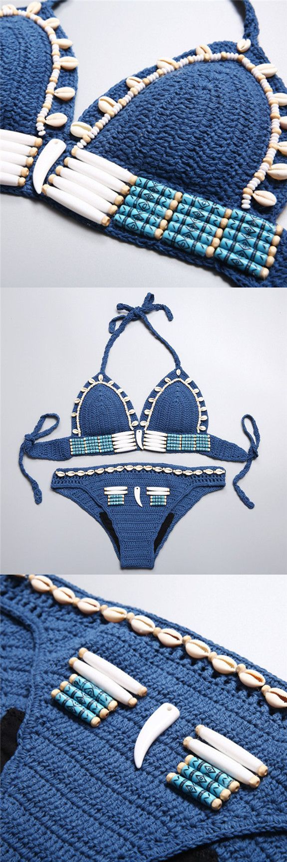 handmade swimsuit bikini swimwear boho crochet bikinis beachwear fashion knit bikini. Save an extra 15% off on $30  use code TWOBIKINIS