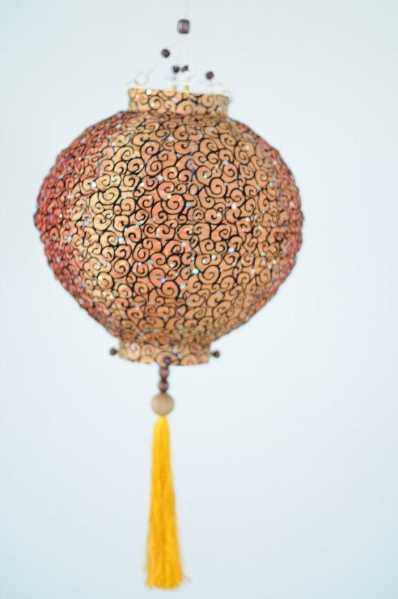 Thai Silk Golden Brown oriental Wooden lantern art by cottonlight, $19.99