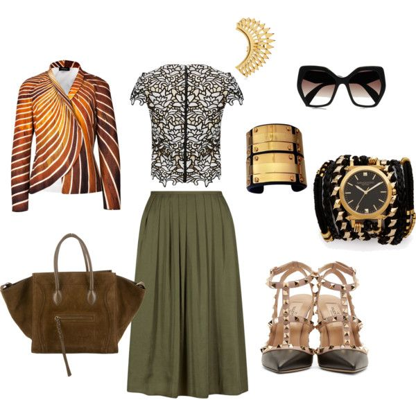 Olive Skirt Dramatic Style by edeln on Polyvore featuring, Alice + Olivia, Akris, Valentino, CÉLINE, Sara Designs, Annelise Michelson, BCBGMAXAZRIA and Prada