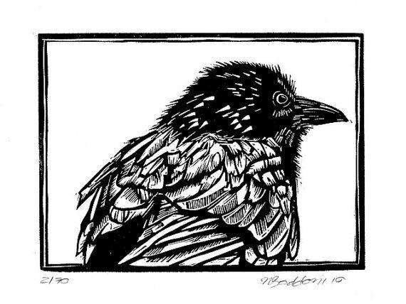 Australian crow original linocut print by rubyvictoria on Etsy, $60.00