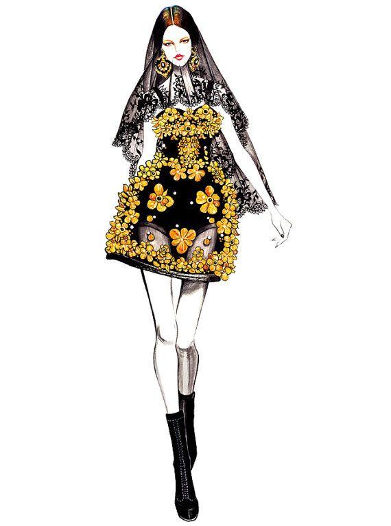 ILLUSTRATION BY @Ann Artemova GU.Inspired by Bette Franke for Dolce & Gabbana Fall 2012 RTW