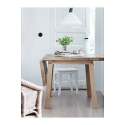 IKEA - MÖCKELBY, Drop-leaf table, Table with a top layer of solid wood, a durable natural material that can be sanded and surface treated when required.Good environmental choice, because the method of using a top layer of solid wood on particleboard is resource-efficient.The table has a full plank design that gives it an authentic plank expression with a genuine wood feeling.The plank expression is enhanced by the design on the edges.Every table is unique, with varying grain pattern and…