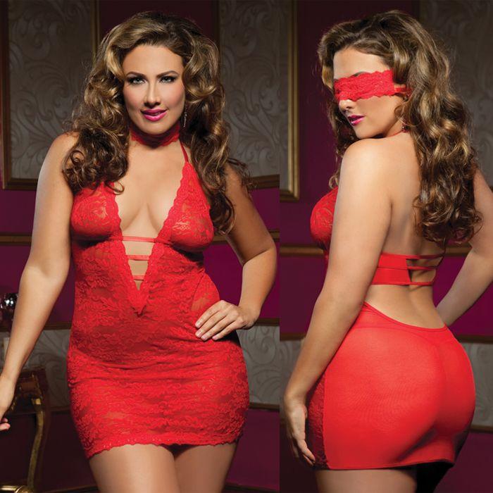 Ажурное платье с глубоким декольте, красное - XL - купить в интим магазине секс шоп Экстаз