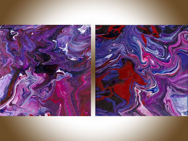 Colourful abstract painting red purple pink blue set of 2 contemporary art original art home office decor wall art Fluid art by qiqigallery by QiQiGallery on Etsy