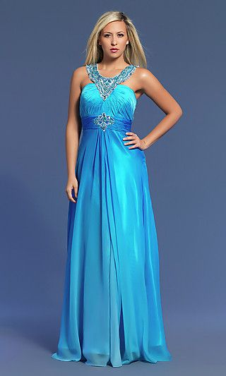 Long Blue Beaded Formal Gown