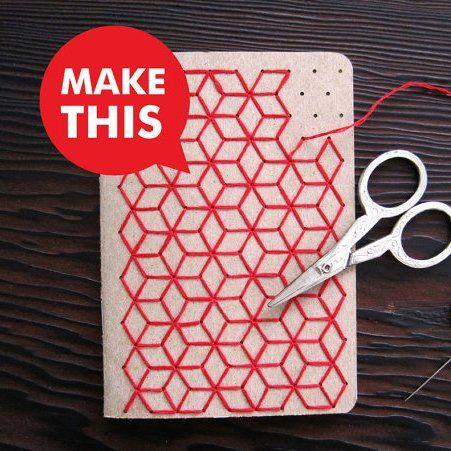 Couverture brodée aux motifs géométriques pour une rentrée graphique ! / DIY, Cover embroidered in the geometrical motives for a graphic comeback