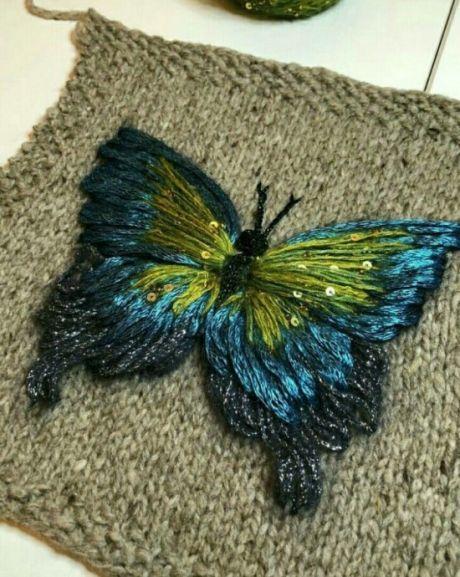 объёмная вышивка по вязаному полотну Patīk вышивка вязание