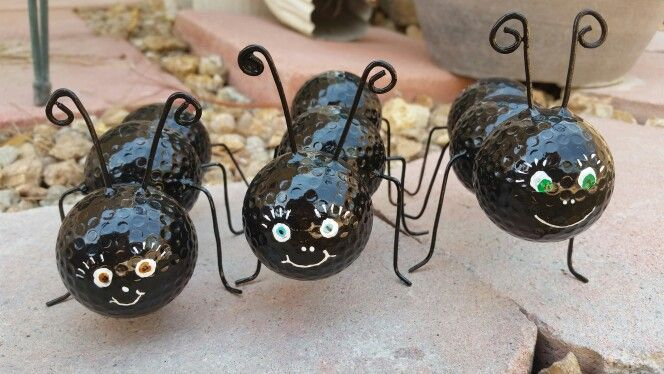 Golf ball ants with wire, paint & epoxy - garden art - image only