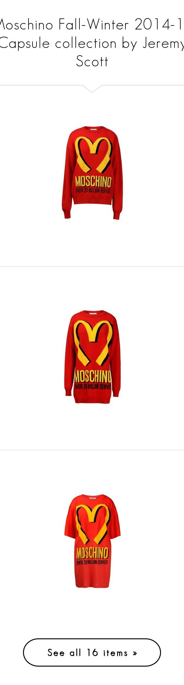 """""""Moschino Fall-Winter 2014-15 Capsule collection by Jeremy Scott"""" by vassiliki-g ❤ liked on Polyvore featuring tops, sweaters, moschino, long sleeve sweater, red top, long sleeve tops, red sweater, red long sleeve top, dresses and short summer dresses"""