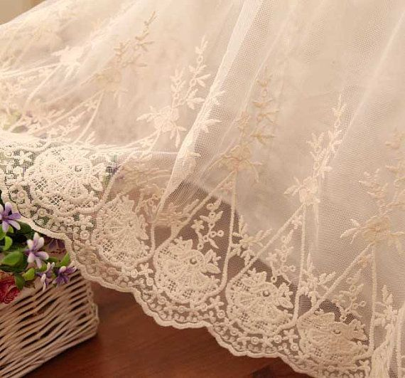 Beautiful embroidery lace bed skirt that everyone deserves to have!  Color: Ivory, not white.  Luxury double layer design.  Top layer is delicate