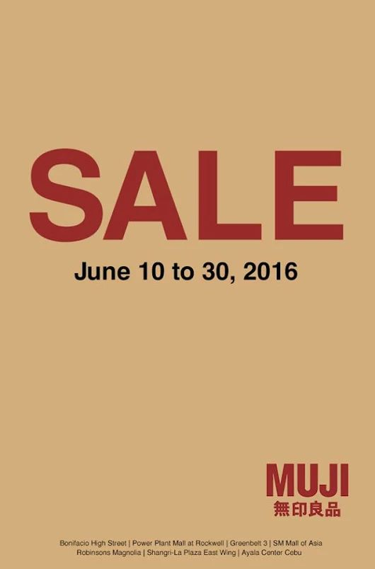 Check out MUJI End of Season Sale!  Receive up to 65% OFF on selected garment styles!  Visit MUJI Stores‬ for more comfortable and elegant lifestyle options until  June 30, 2016.  http://mypromo.com.ph/