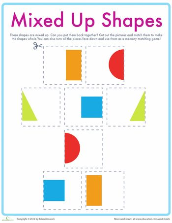 Worksheets: Match the Shapes. GREAT for learning shapes