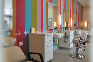 Tickles Childrens Salon Love the stripes/white stations