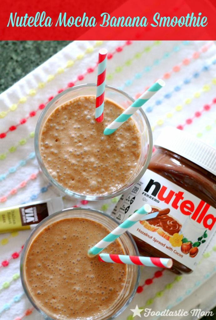 Nutella Mocha Banana Smoothie + how to freeze bananas by Foodtastic Mom #weightlossjourney