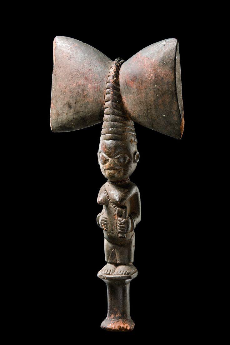 "Dance staff ""oshe shango"", Nigeria, Yoruba  - Read more: http://www.tribal-art-auktion.de/en/catalogue173/d10_250/#ixzz3NaGtdHE0"