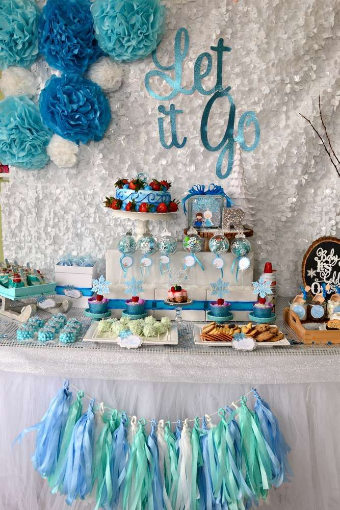Gorgeous dessert table at a Frozen birthday party! See more party planning ideas at CatchMyParty.com!