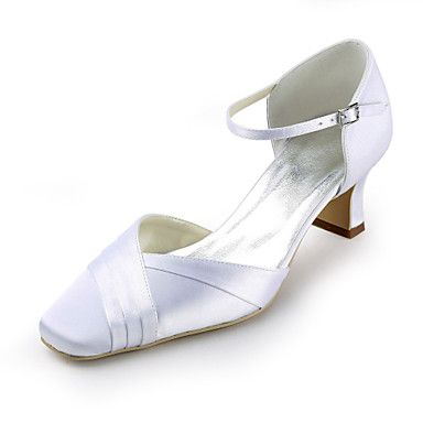 Satin Chunky Heel Square Toe With Ruffles Wedding Bridal Shoes (More Colors) - USD $ 39.99