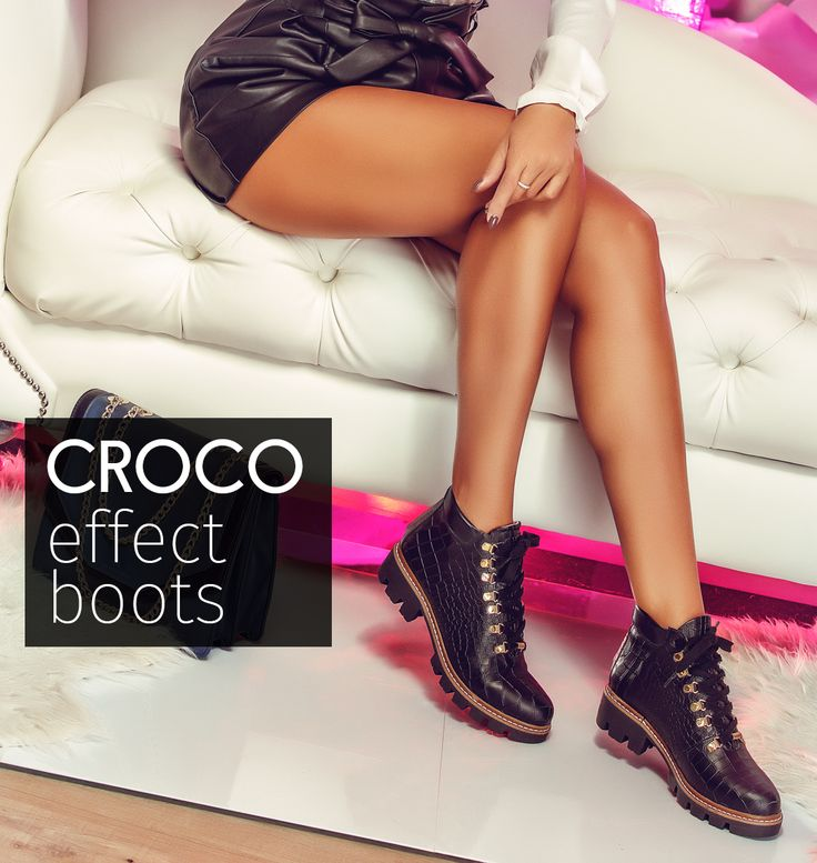 The black Daisy boots with croc effect are made of natural leather for an extended comfort@joyasromania