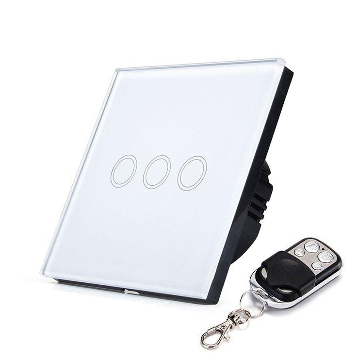 EU/UK RF433 Touch-schalter Fernbedienung Wand Lichtschalter 3 Gang 1 Way Mit Kristall Glas Touch Panel wasserdicht