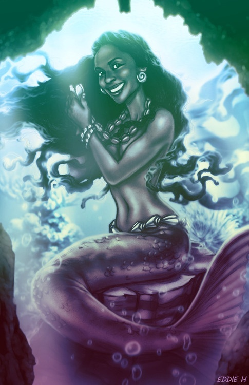 Ridiculously cheerful black mermaid