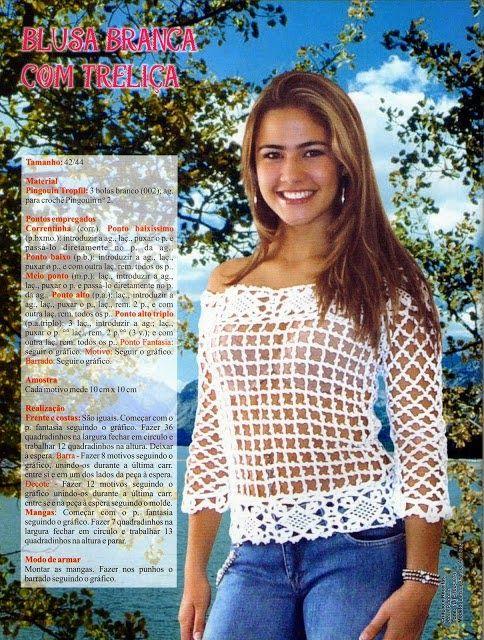 Blusa de crochê com treliça tam 42/44     crochê - gráficos