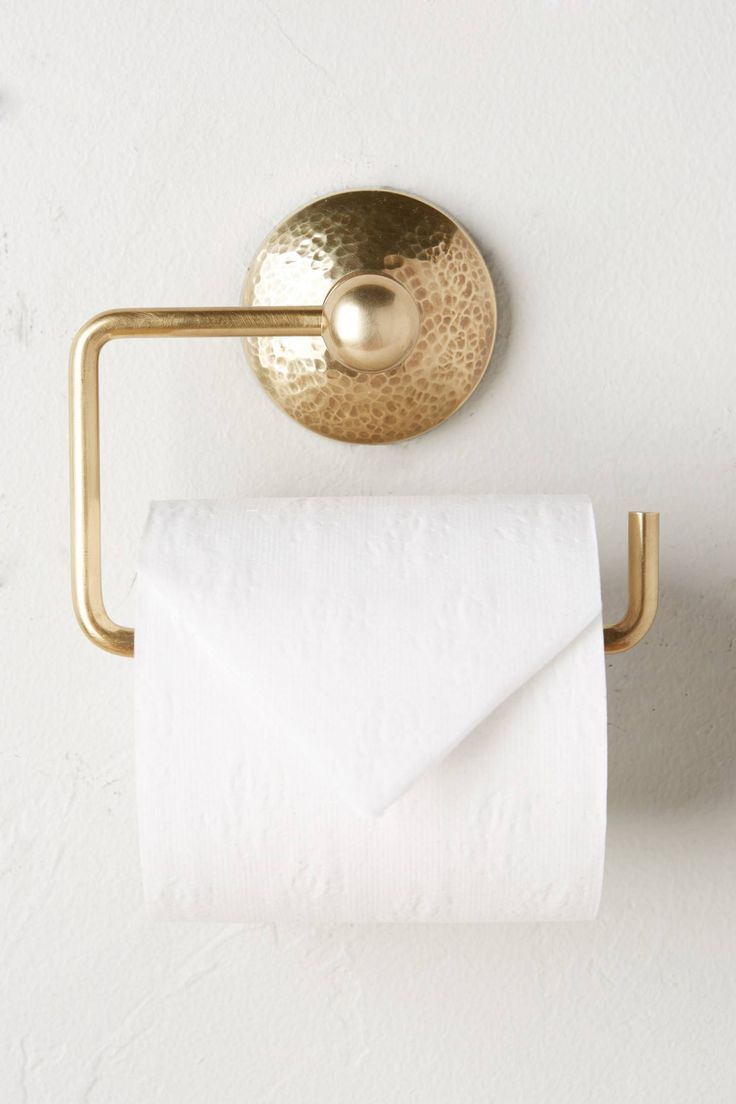 Slide View: 1: Hammered Brass Toilet Paper Holder