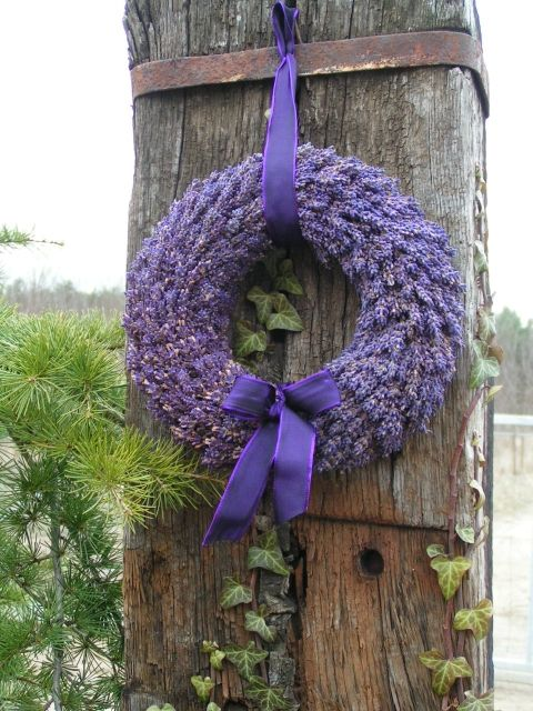How To Make A Lavender Wreath - easy project using a wreath form and dried lavender. Great way to use the lavender growing in the garden.