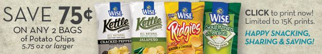 Coupon for $.75 Off Two Bags of Wise Potato Chips