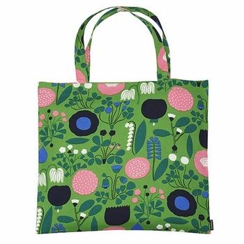 """Go green"" by using this fun floral bag as a reusable shopping bag - Marimekko Ahonlaita Green Tote Bag"