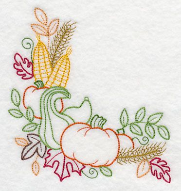 Autumn Harvest Corner Embroidery Library! - Color Change - K2984