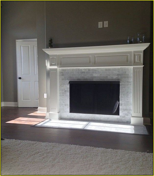 Fireplace Electric Wall Mount Carrara Marble Subway Tile Fireplace | Fireplace Ideas