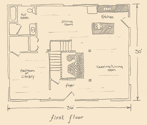 Saltbox house with center chimney illustration saltbox for Saltbox colonial house plans