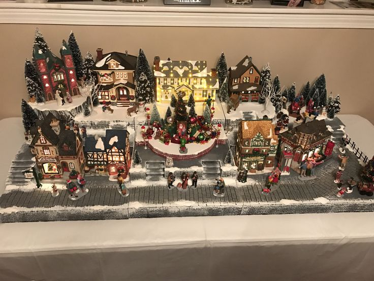 Custom Christmas Village Display Platform (Lemax, Department 56, snow village) by VillageVignettes on Etsy https://www.etsy.com/listing/514988049/custom-christmas-village-display