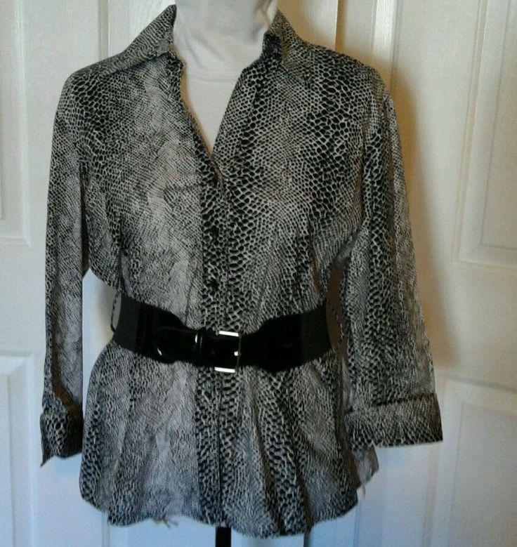 Harve Bernard Black/ White Button Up Blouse, Shirt  Sz L (runs sm)Ladies, Women #HarvBenard #ButtonDownShirt