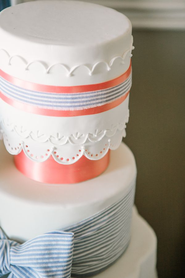 Seersucker Bow on Wedding Cake