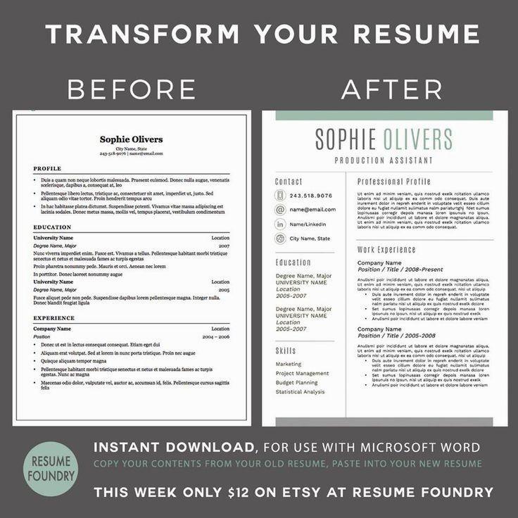 resume template for mac  u0026 pc using microsoft word   u201cthe sophie  u201d instant digital u2026