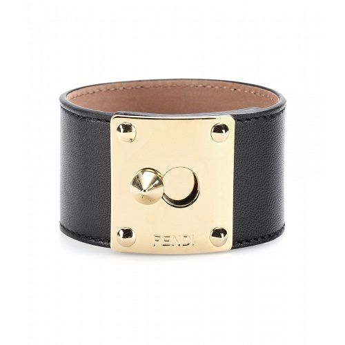 Style: Cuff Closure: ClaspMaterial: Leather, Metal Additional Information:Stud Accent Cuff Bracelet Stamped