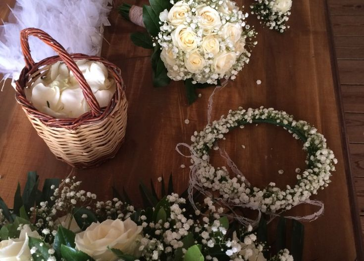 Babies Breath and White Roses for Wedding in Naxos