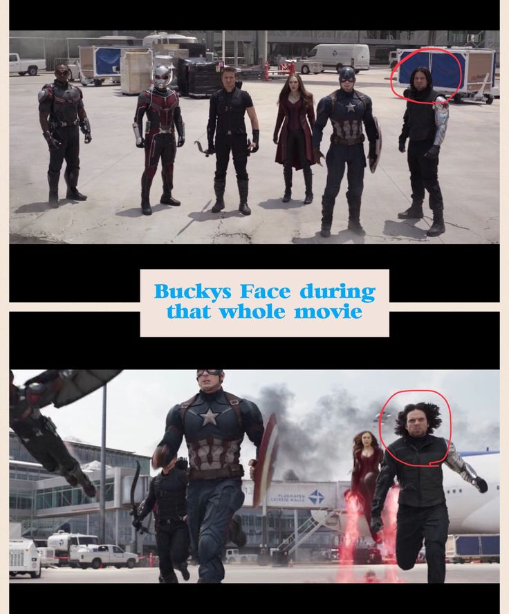 Bucky's face during that whole movie!/ Civil War/ confused face‍♂️‍♂️